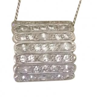 Vintage Bespoke 2ct Marquise Diamond White Gold Pendant Necklace