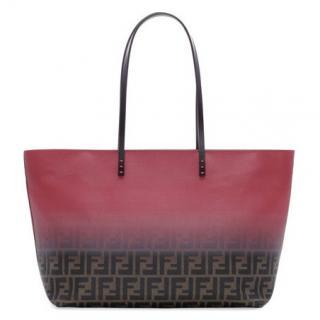 Fendi Pink and Brown Zucca Monogram Ombre Medium Tote Bag
