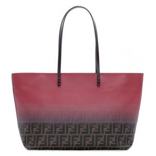 Fendi Pink and Brown Zucca Monogram Ombre Medium Tote Bag