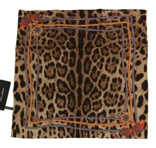 Dolce & Gabbana tassle and leopard printed silk scarf