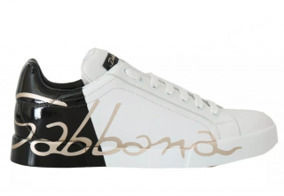 Dolce & Gabbana white & black logo printed trainers