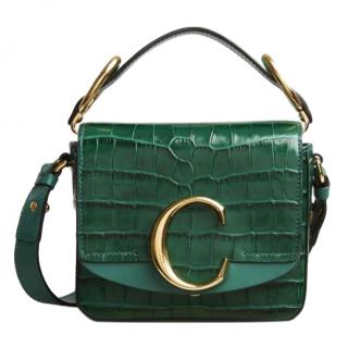 Chloe C Mini Croc-effect Leather Shoulder Bag in Emerald - New Season