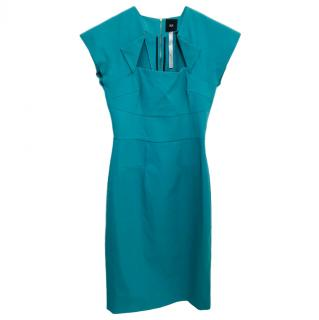 RM by Roland Mouret Teal Cap Sleeve Dress