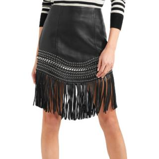 Balmain fringed leather skirt