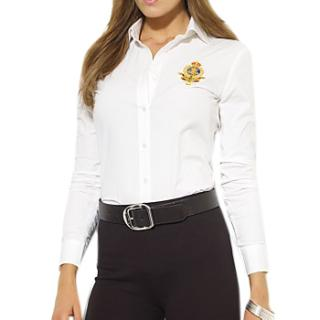 Lauren Ralph Lauren White Alie Long Sleeve Shirt with Crest