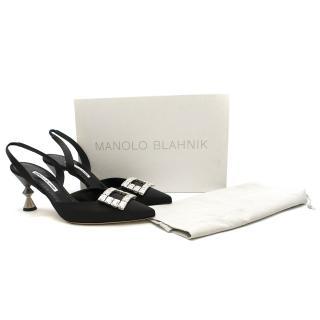 Manolo Blahnik Black Spuriasli 70mm Slingback Pumps