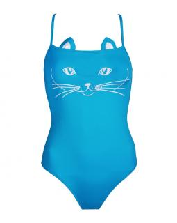 Natayakim Blue Cat Face One piece Swimsuit