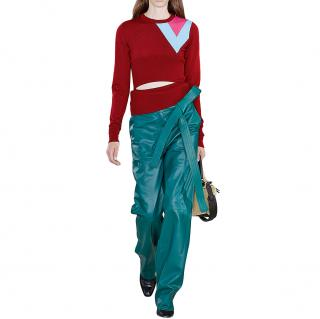 Loewe Green Leather Judo Trousers