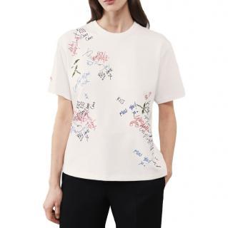 Victoria Beckham White Cotton Graffiti Embroidered T-Shirt