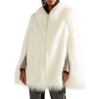 House of Fluff White Yeti Convertible Cape Coat