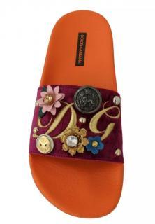 Dolce & Gabbana Velvet Applique Slides