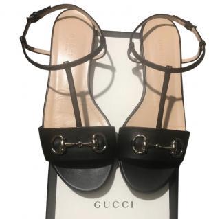 Gucci Black Horsebit Flat Sandals