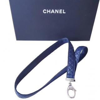 Chanel Blue Quilted Leather Key Chain
