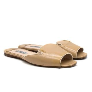 Prada Nude Saffiano Leather Slides