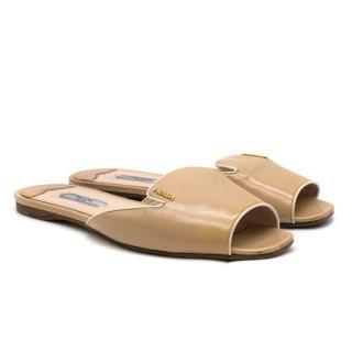 Prada Nude Saffiano Leather Slides