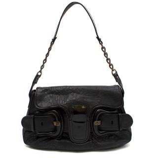 Fendi Black Leather Double-buckle Medium Baguette