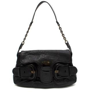 Fendi Black Leather Double-buckle Medium Baguette