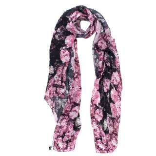 Givenchy Silk Sequin Floral Print Black & Pink Scarf