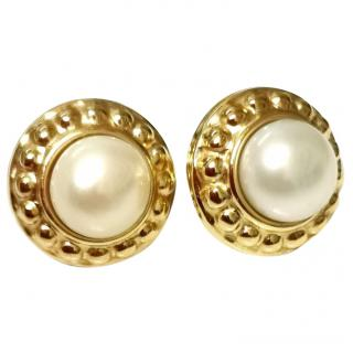 Vintage Bespoke Yellow Gold Pearl Earrings