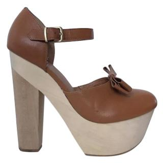 Opening Ceremony Tan Wooden Mary Janes