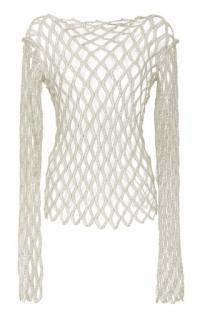 Rosetta Getty Metallic Fishnet Long Sleeve Top