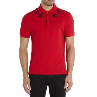 Givenchy Red Vintage Stars Around The Neck Collared Shirt