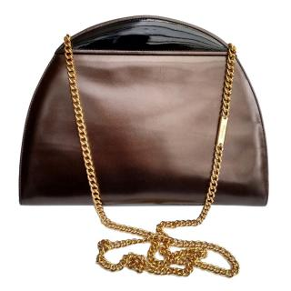 Salvatore Ferragamo half moon metallic two-tone bag