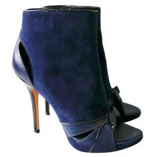 Dior Blue Suede & Leather Cut-Out Peep Toe Booties