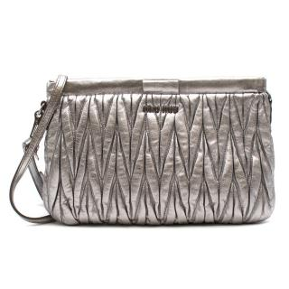 Miu Miu Matelasse Silver Clutch On Chain
