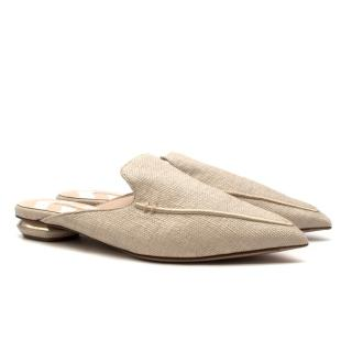 Nicholas Kirkwood Beya Raffia Beige Slippers