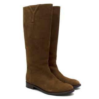 Yves Saint Laurent Brown Suede Tall Boots