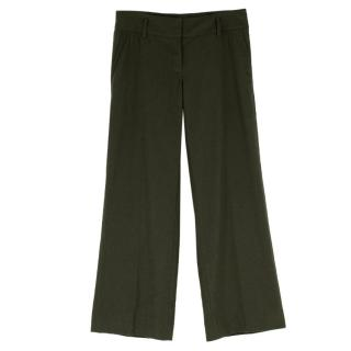 Burberry Dark Green Wool Straight Leg Trousers