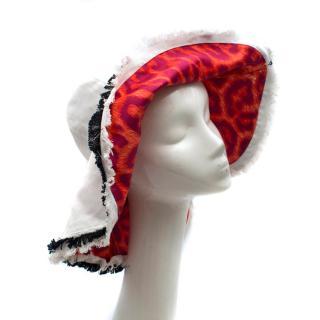Just Cavalli Floppy White & Leopard Print Sun Hat