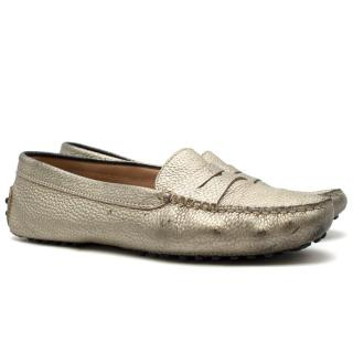 Tod's Gommino Driving Gold Metallic Leather Loafers
