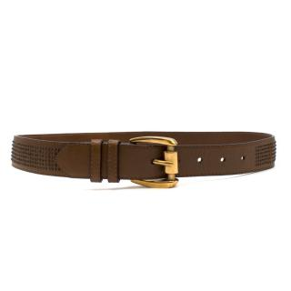 Burberry Brown Leather Studded Belt