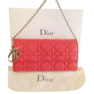 Dior coral leather carnage wallet on a chain