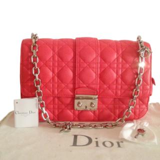 Christian Dior coral red leather Miss Dior Cannage Shoulder Bag