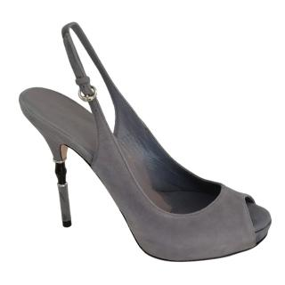 Gucci grey suede bamboo stiletto sandals