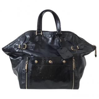 Yves Saint Laurent black Patent Leather Downton Tote Bag