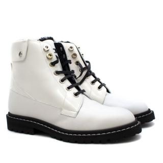 Jimmy Choo White Leather Biker Boots