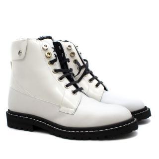 Jimmy Choo White Leather Biker Boots