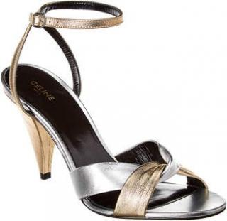 Celine gold and silver Hedi Slimane Sandals