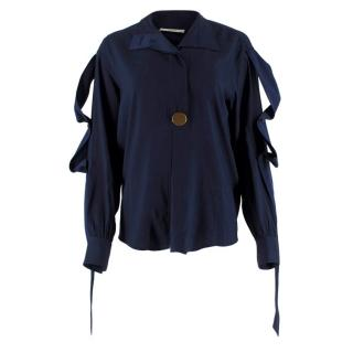Celine Navy Silk Button Embellished Shirt