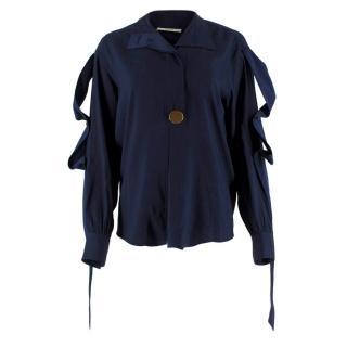 Celine Navy Silk Button Embellished Shirt