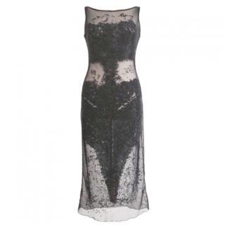 Celo Moda Argentinian embellished sheer black dress