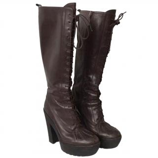 Ralph Lauren Helma Brown Leather Boots