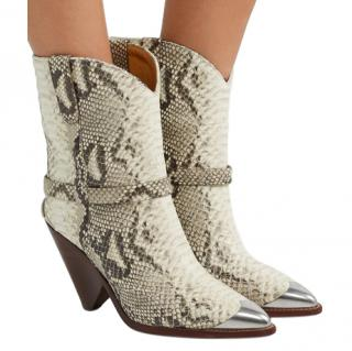 Isabel Marant Lamsy Western snake effect boots