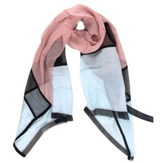 Giorgio Armani Silk Blue & Pink Shawl