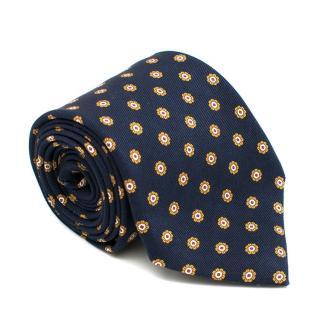 Fiorio Navy Silk Floral pattern Tie