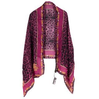 Roberto Cavalli Silk Pink Leopard Print Scarf/Shawl